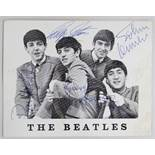ORIGINAL SIGNED THE BEATLES FAN CARD clearly signed in pen by each of the four group members, 11 x