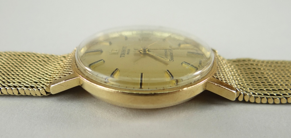 TISSOT AUTOMATIC 'SEASTAR SEVEN' 9CT GOLD WRISTWATCH having integrated 9ct gold strap and date - Image 4 of 5