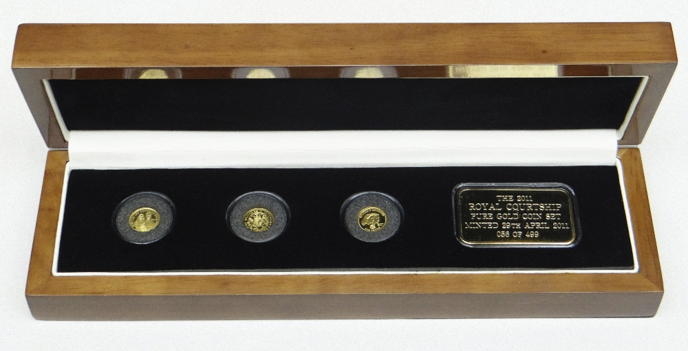 THE 2011 ROYAL COURTSHIP PURE GOLD COIN SET comprising three 24ct gold Crowns and 24ct gold