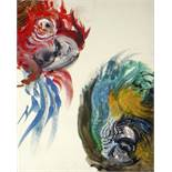 MAGGI HAMBLING (B.1945) oil on canvas - macaws, 25 x 20cms, in bespoke box frame Condition Report: