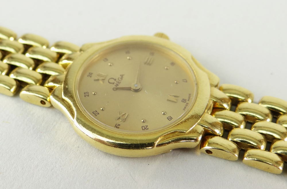 OMEGA 18CT (750) GOLD LADIES WRISTWATCH WITH 'BRICKWORK' BRACELET. 40.6 grams Condition Report: - Image 4 of 6