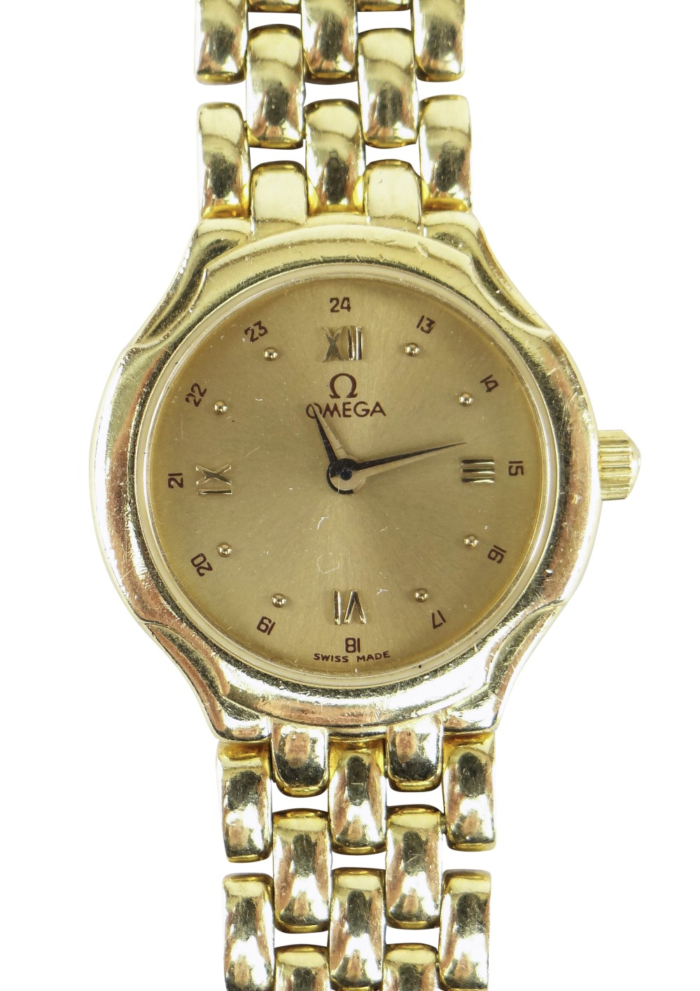 OMEGA 18CT (750) GOLD LADIES WRISTWATCH WITH 'BRICKWORK' BRACELET. 40.6 grams Condition Report: