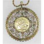 1877 GOLD SOVEREIGN SET IN 9CT GOLD SCROLL DESIGN MOUNT on yellow metal chain. Coin and setting