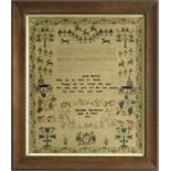 LATE GEORGE III NEEDLEWORK SAMPLER, worked with animals, churches, plants, alphabet, numerals and
