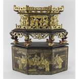 STRAITS CHINESE OR PERANAKAN CARVED & GILT LACQUERED CHANAB, the lozenge shaped offering stand