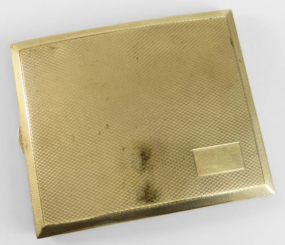 9CT YELLOW GOLD ENGINE TURNED CIGARETTE CASE of slightly curved form, Birmingham 1865, maker's