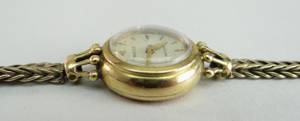 18CT YELLOW GOLD LADIES ROLEX PRECISION WRISTWATCH, the inside cover marked 'R. W. Co Ltd' and - Image 3 of 4