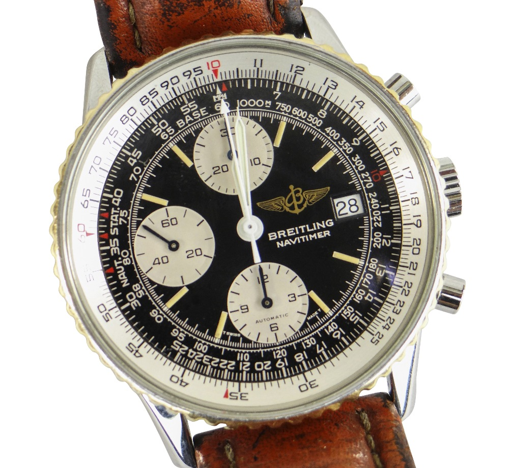 BREITLING NAVITIMER FIGHTERS EDITION STAINLESS STEEL CHRONOGRAPH WRISTWATCH, numbered to reverse '