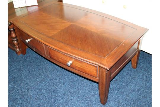 1 X Mark Webster 39 Townsend 39 Dark Wood Coffee Table 2 Drawer Ex Display Stock With Light Wear