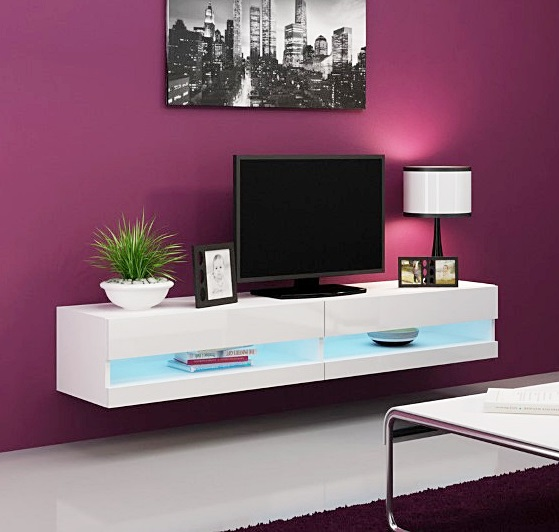 Lot 1126 1 X Vigo High Gloss Tv Stand Cabinet With Led Lights