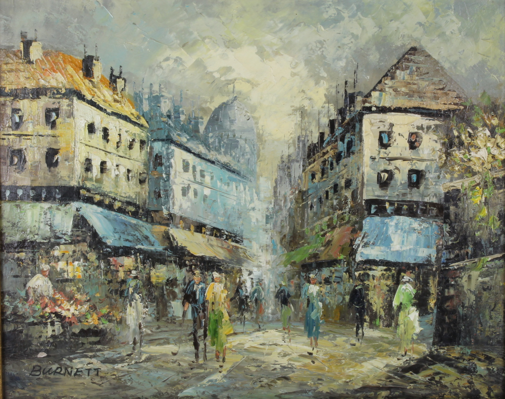 Burdett, oil painting on canvas, a Parisian street scene with