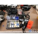Lot of assorted Porter Cable power units with extra base attachments, router bits, drills, (2)