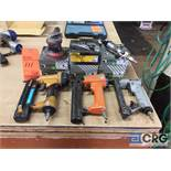 Lot of assorted pneumatic tools, (3) staple nailers, (1) reversible impact screwdriver, (1) hand