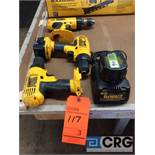 Lot of (3) DeWALT cordless drills, (2) m/n DC727 3/8 in., (1) m/n DW990 1/2 in. adjustable clutch