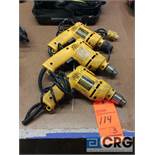 Lot of (3) DeWALT drills 3/8 in., m/n DW100