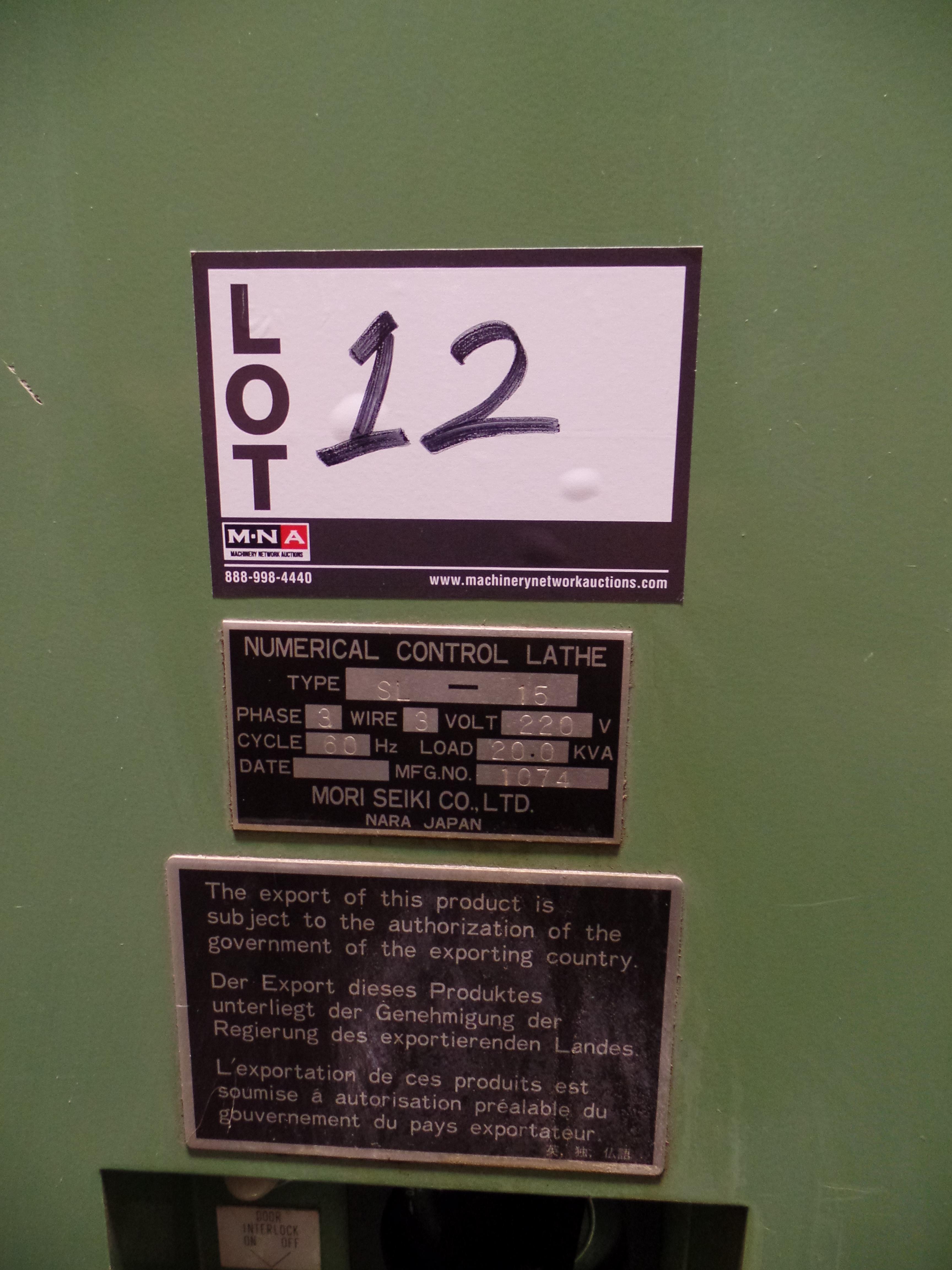 "Lot 12 - 1993 Mori Seki SL-15 CNC 2 Axis Lathe, Fanuc O-T control, 6"" chuck SN: 1074"