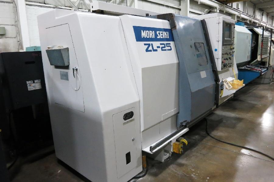 "Lot 32 - 1995 Mori Seiki ZL-25 4 Axis CNC Turning Center, Mori MSD-516 control, 10"" chuck, chip conveyor"
