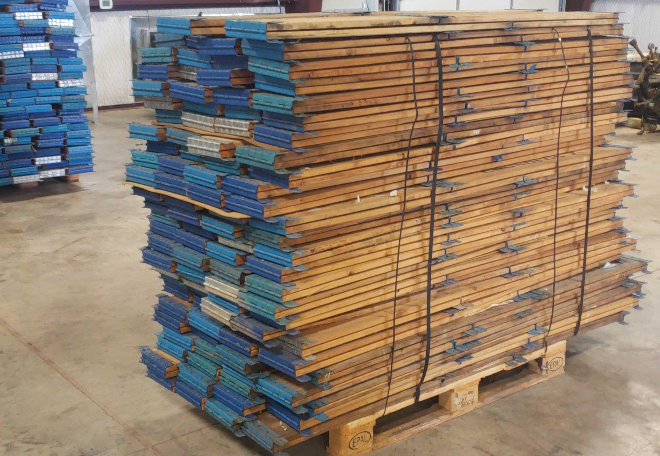 Lot 40 - 103 pcs- 29-3/4 X 45-5/8 X 7-1/4 Inside dimensions, Stackable wood frames for pallets