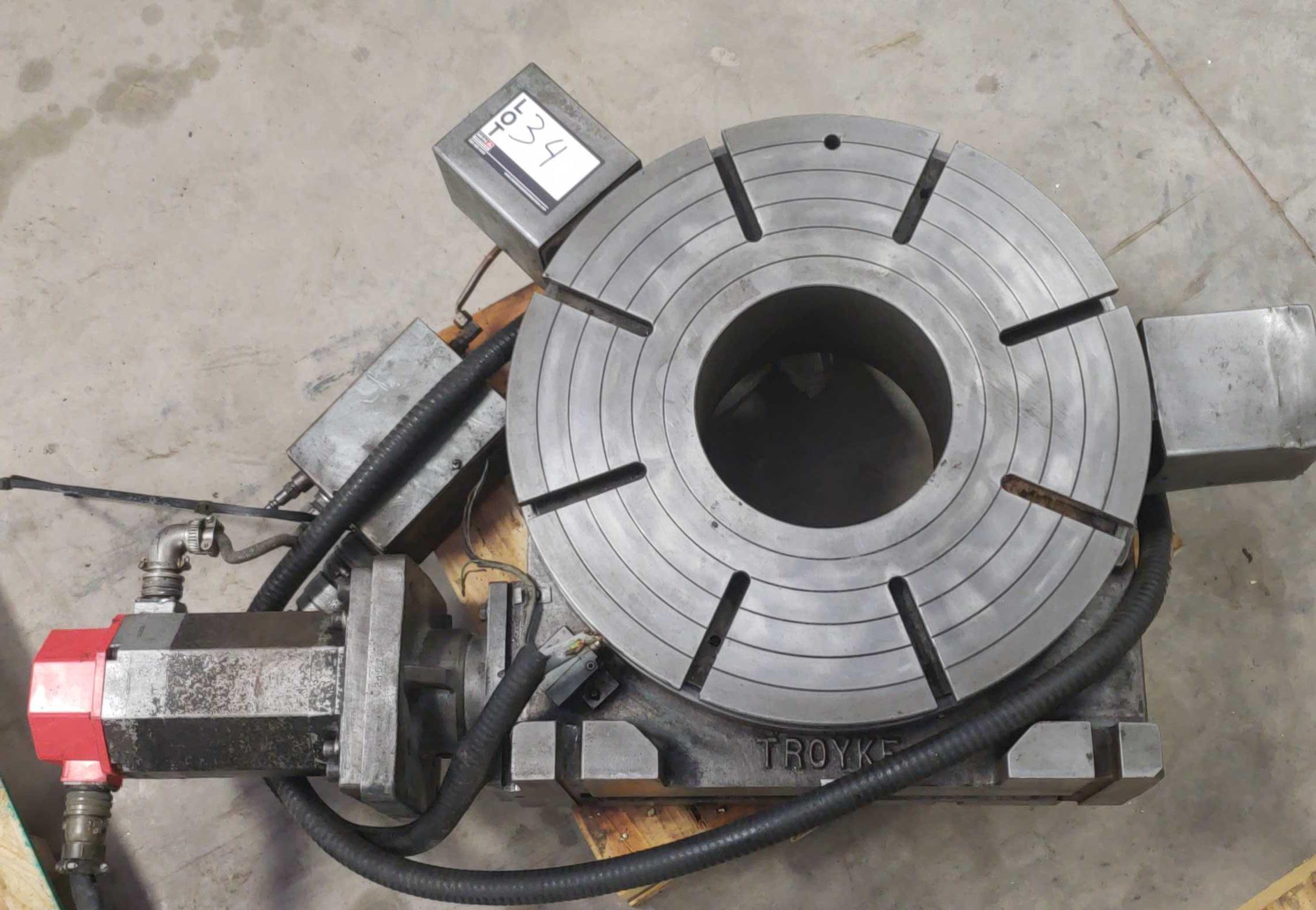"""Lot 34 - Troyke Full 4th Axis w/Fanuc motor, model C20360C3 20"""" Platten w/8"""" hole thru SN: 3797-1"""