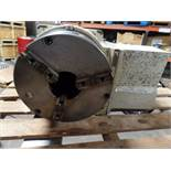 "Yuasa 4th Axis Indexer w/ control box and steady rest, 11"" 3 jaw chuck w/hard jaws, model UDX-28001"