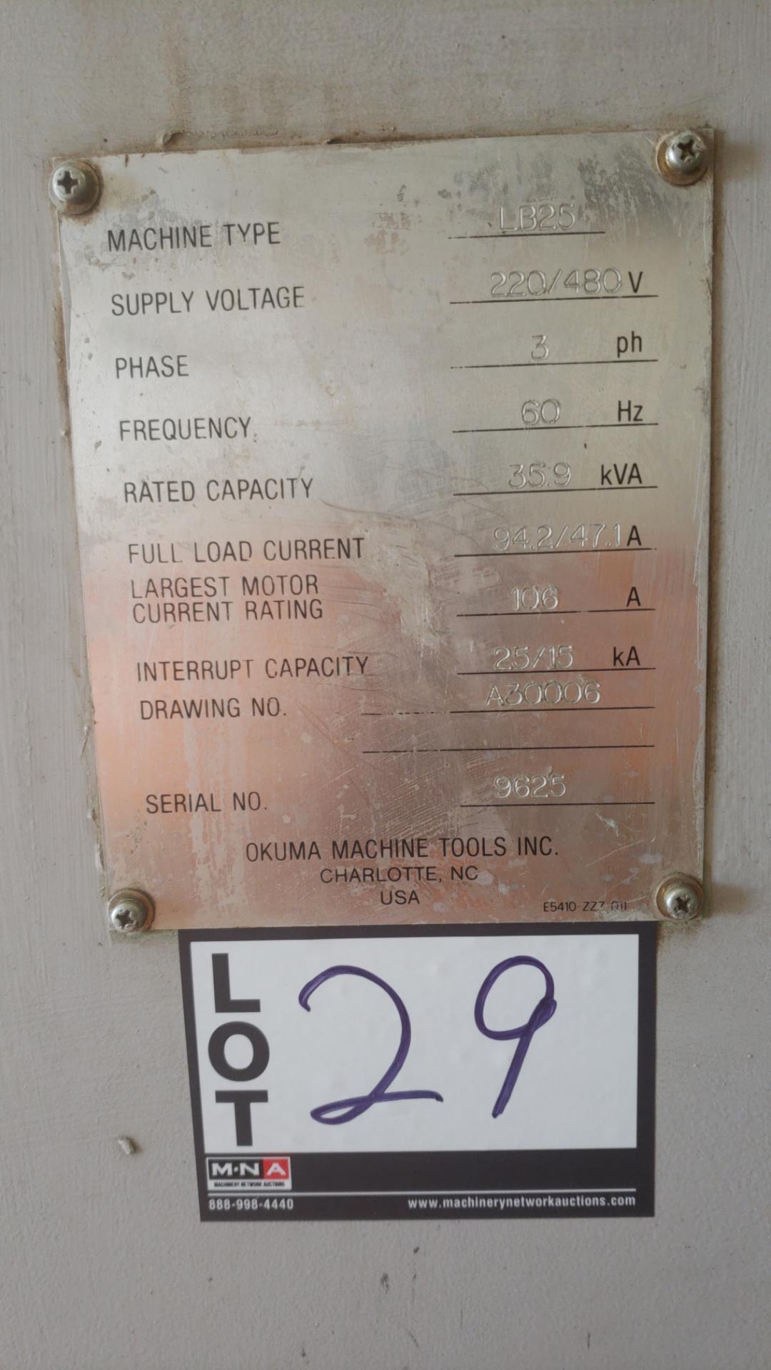 "Okuma LB 25 2 Axis CNC lathe, 5020 control, chip conveyor, 10"" chuck SN: 06119625 - Image 6 of 7"