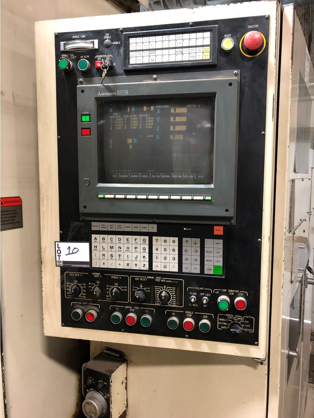 "1992 Mitsubishi M-H50C, 300 control, Meldas.19.7""pallets 28.4""x24.8""x28.4"" travels, 4000 rpm, - Image 8 of 9"