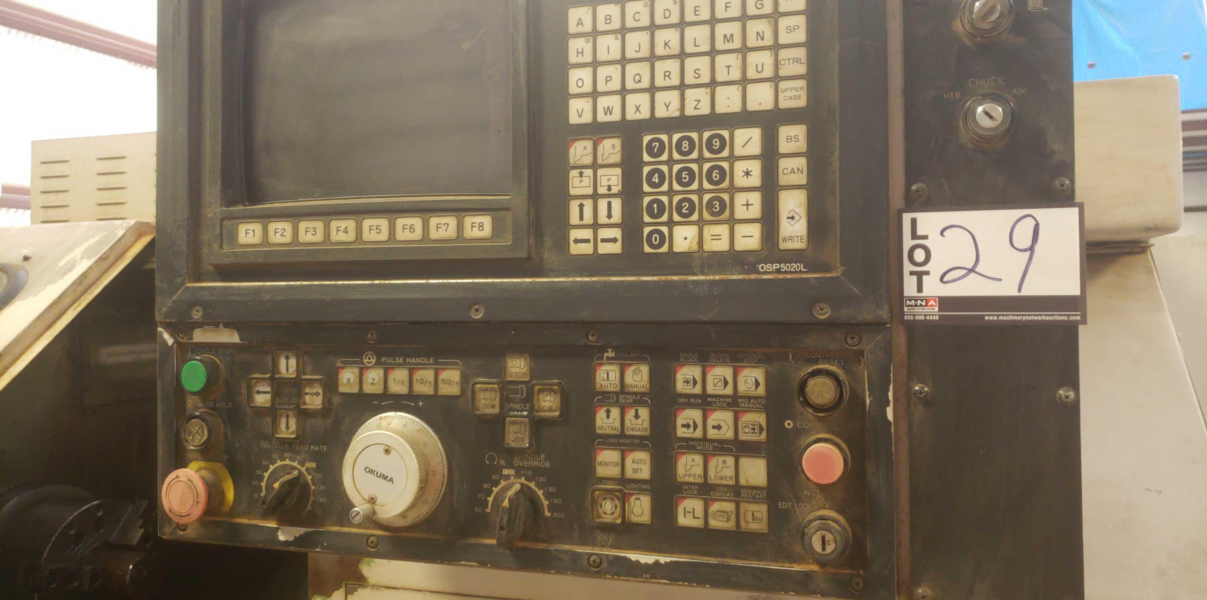 "Okuma LB 25 2 Axis CNC lathe, 5020 control, chip conveyor, 10"" chuck SN: 06119625 - Image 3 of 7"
