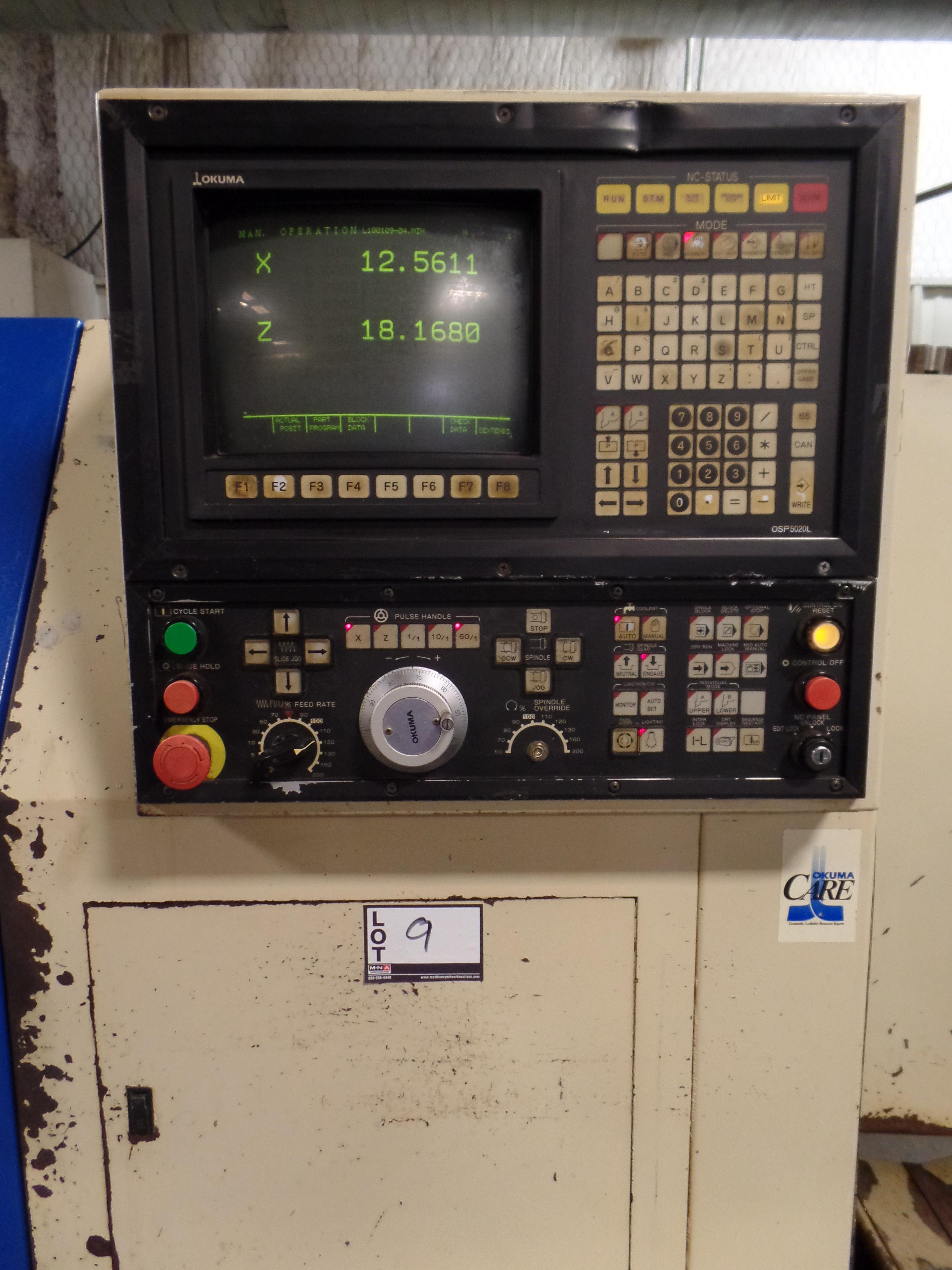 "1996 Okuma Cadet L1420 2-axis LNC 10 CNC turning center, 5020 control, chip conveyor, 12"" chuck - Image 3 of 6"