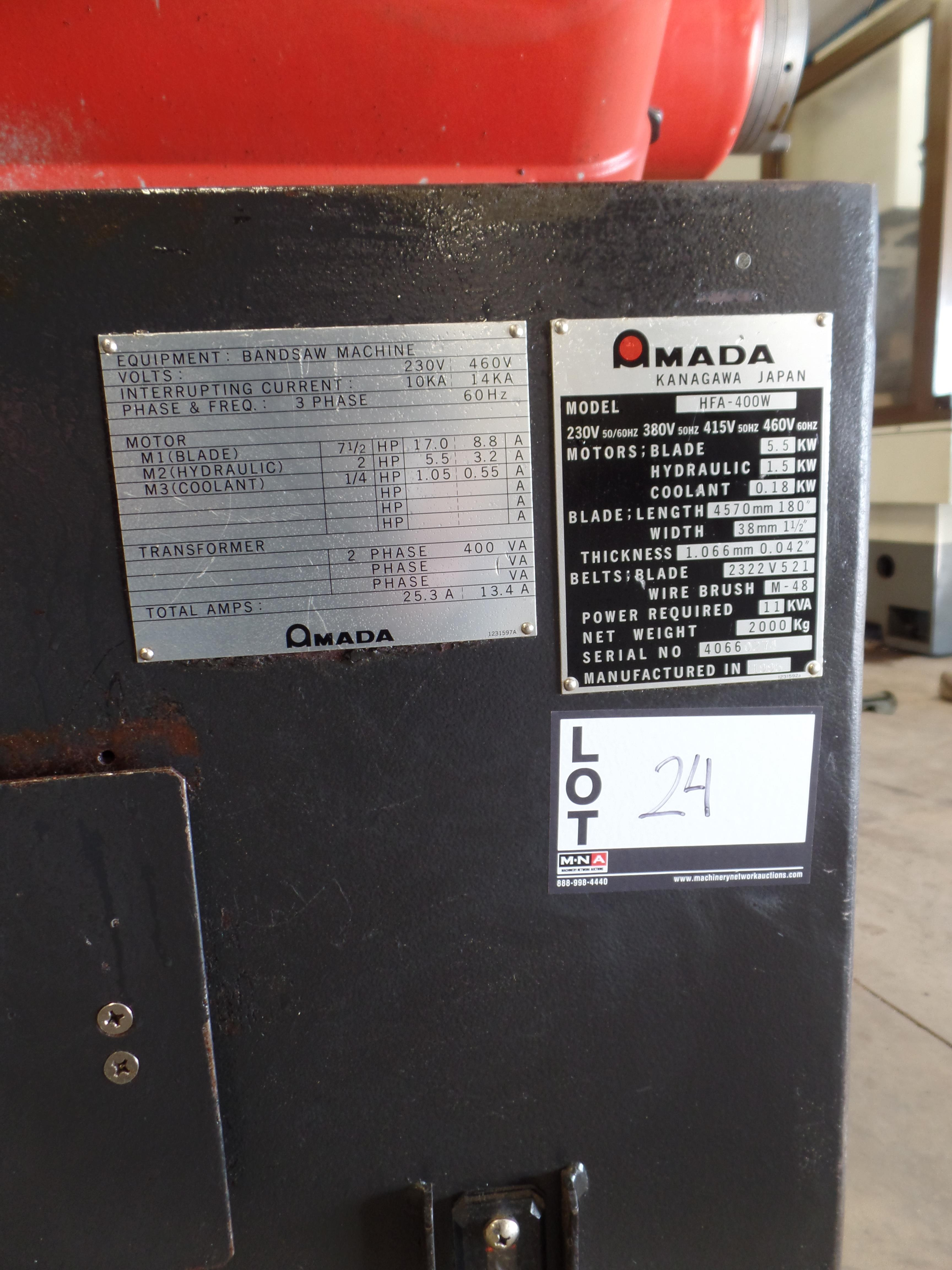"1995 Amada HFA 400W band saw, Automatic bar-feed, 16"" round bar capacity, 1-1/2"" wide blade SN: - Image 7 of 7"