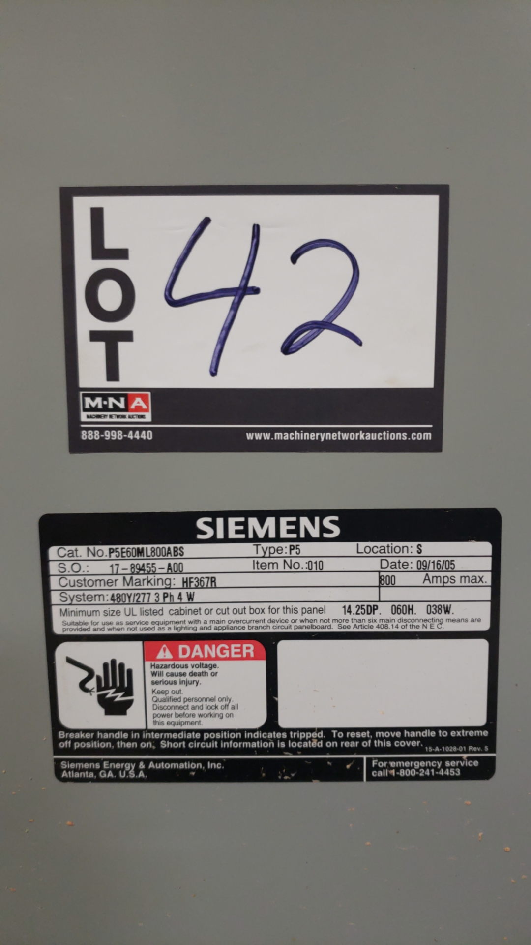 New Siemes 800 AMP 600 volt electric panel - Image 3 of 3