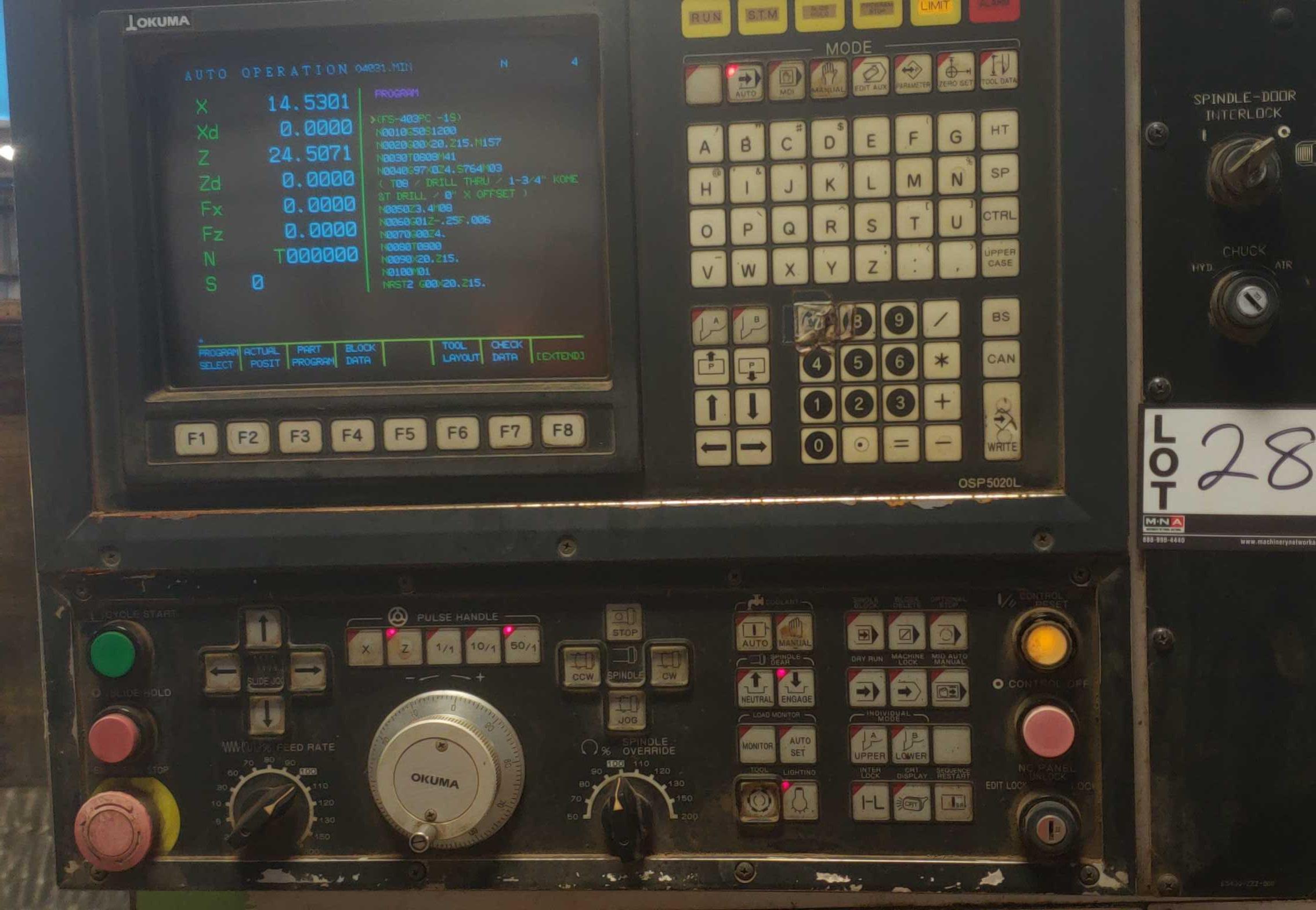 "Okuma LB 25 2 Axis CNC lathe, 5020 control, chip conveyor, 10"" chuck SN: 07049681 - Image 3 of 4"