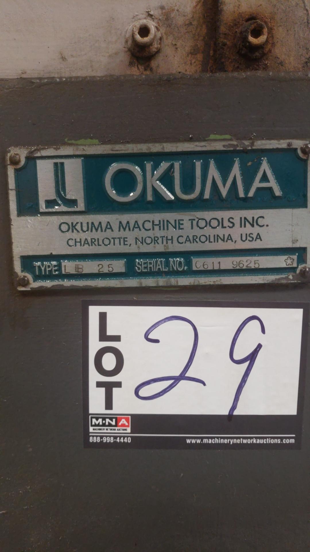 "Okuma LB 25 2 Axis CNC lathe, 5020 control, chip conveyor, 10"" chuck SN: 06119625 - Image 7 of 7"