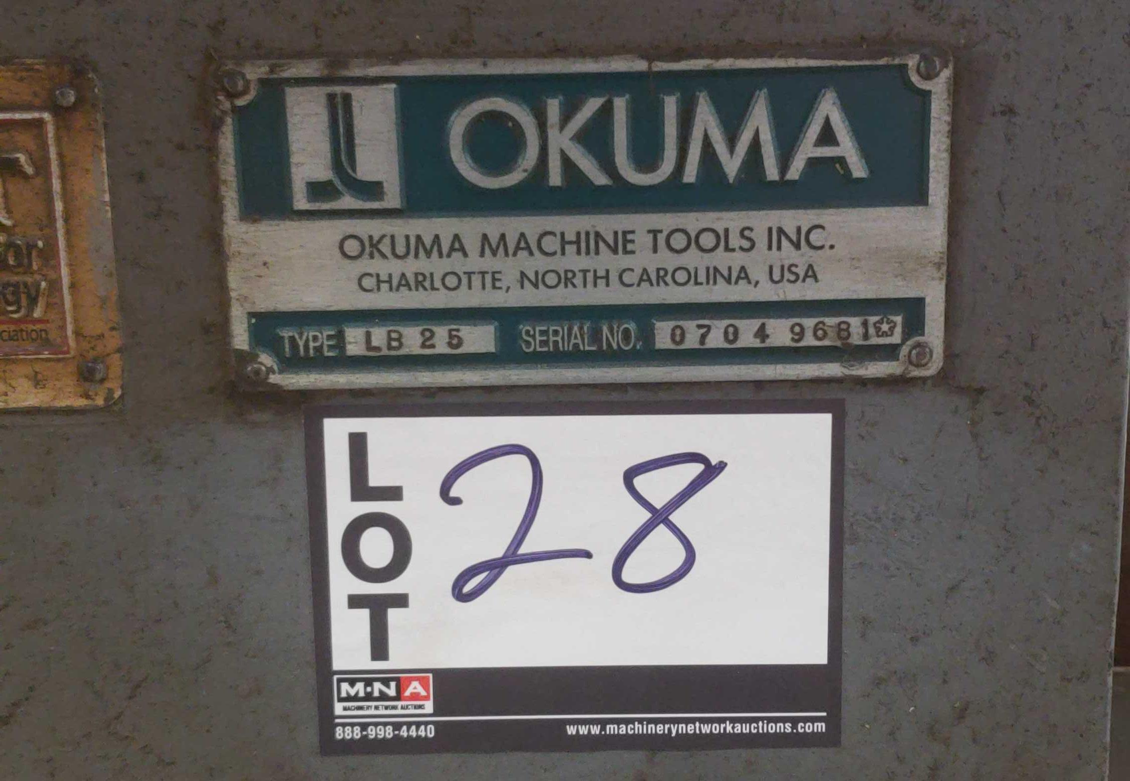 "Okuma LB 25 2 Axis CNC lathe, 5020 control, chip conveyor, 10"" chuck SN: 07049681 - Image 4 of 4"
