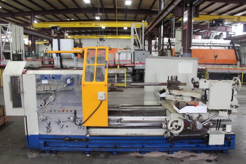 "Lot 26 - 35"" x 90"" Megabore PA3509015 Hollow Spindle Engine Lathe, 9"" spindle bore, 4 jaw chucks F & R"