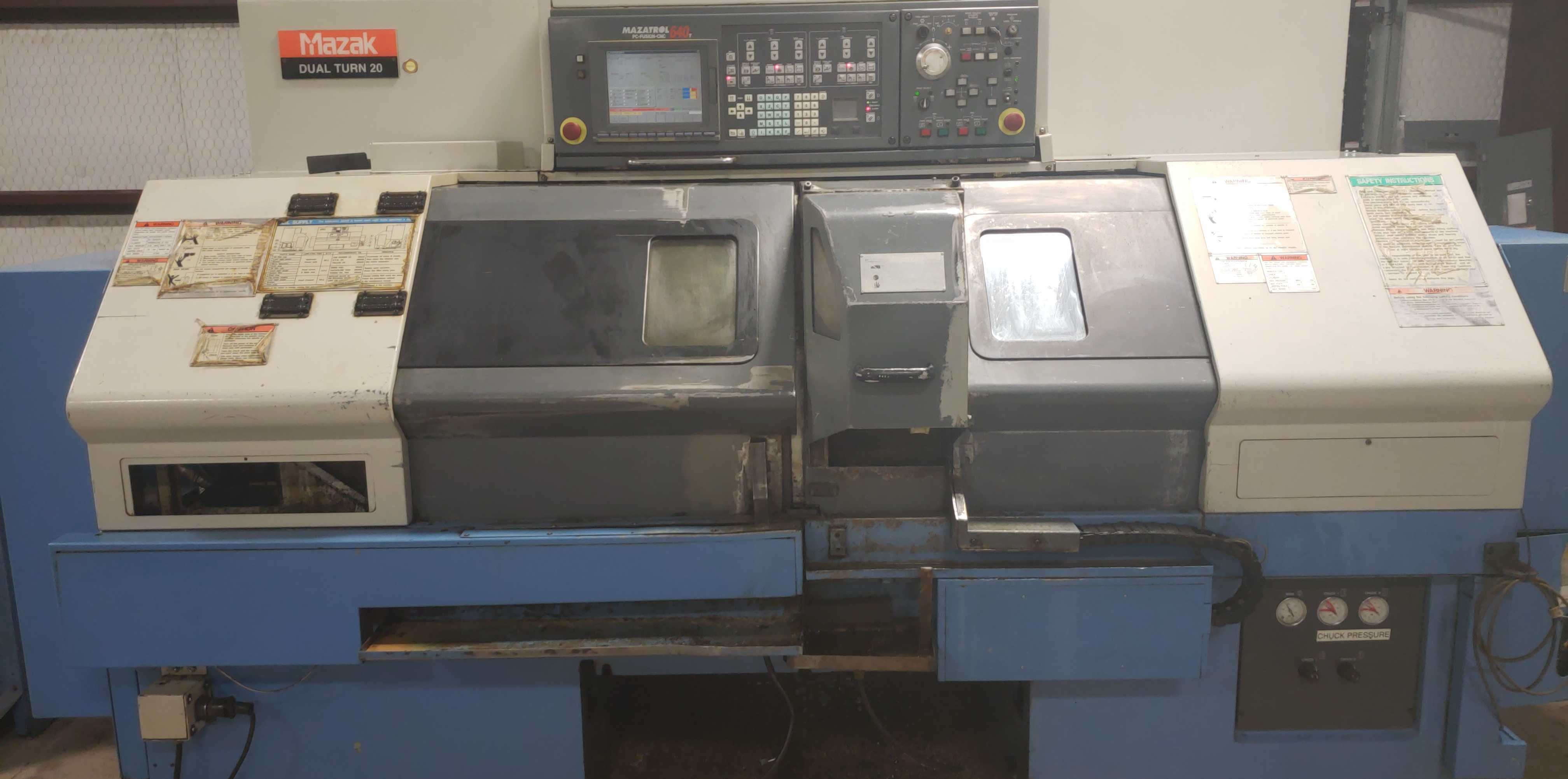 2004 Mazak Dual Turn 20 4 Axis Twin Spindle Twin Turret Opposed CNC Turning Center, rear discharge - Image 4 of 9