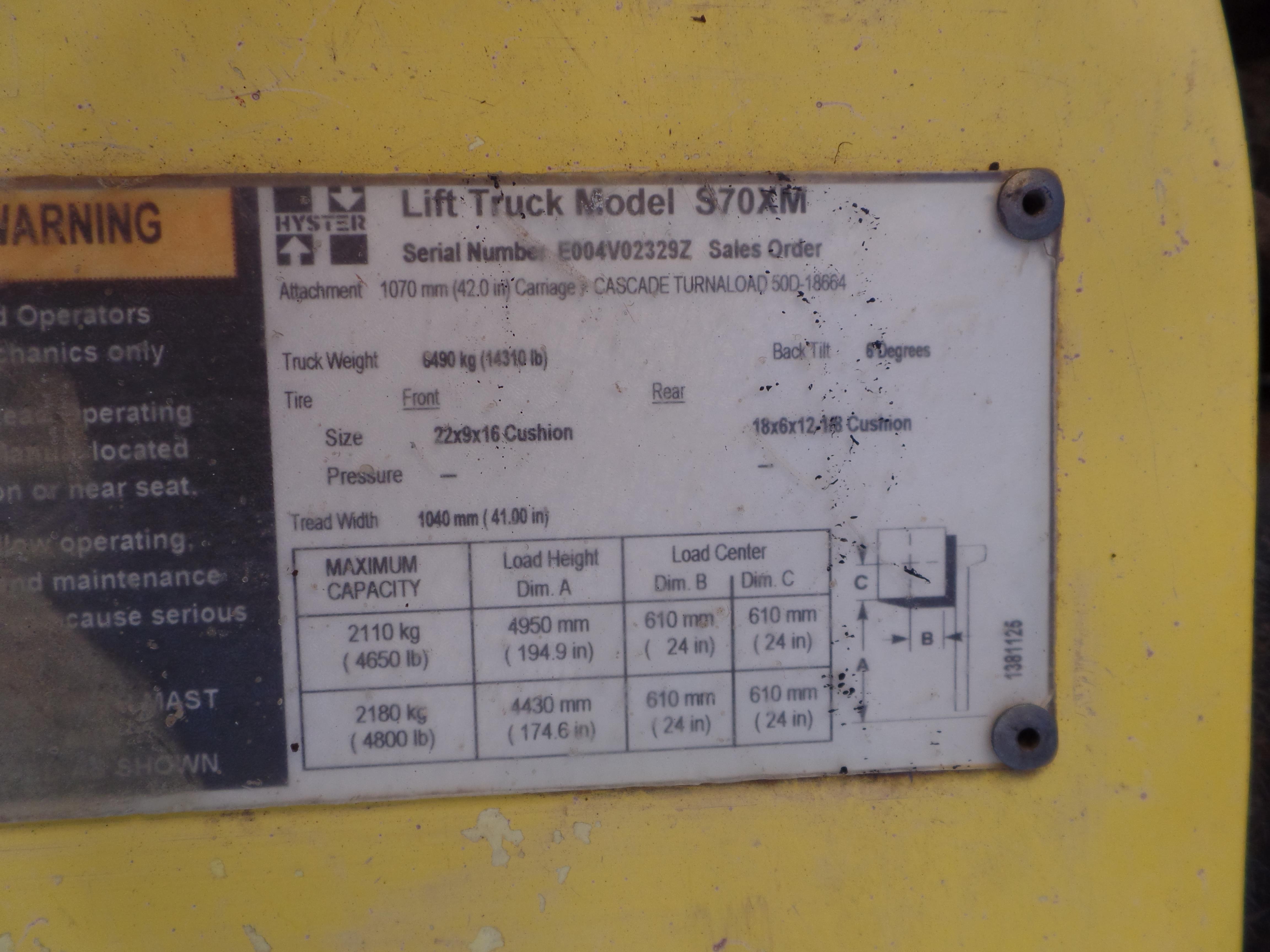 Hyster Model S70XM 5000 1b Capacity forklift SN: E004V02329Z - Image 8 of 10