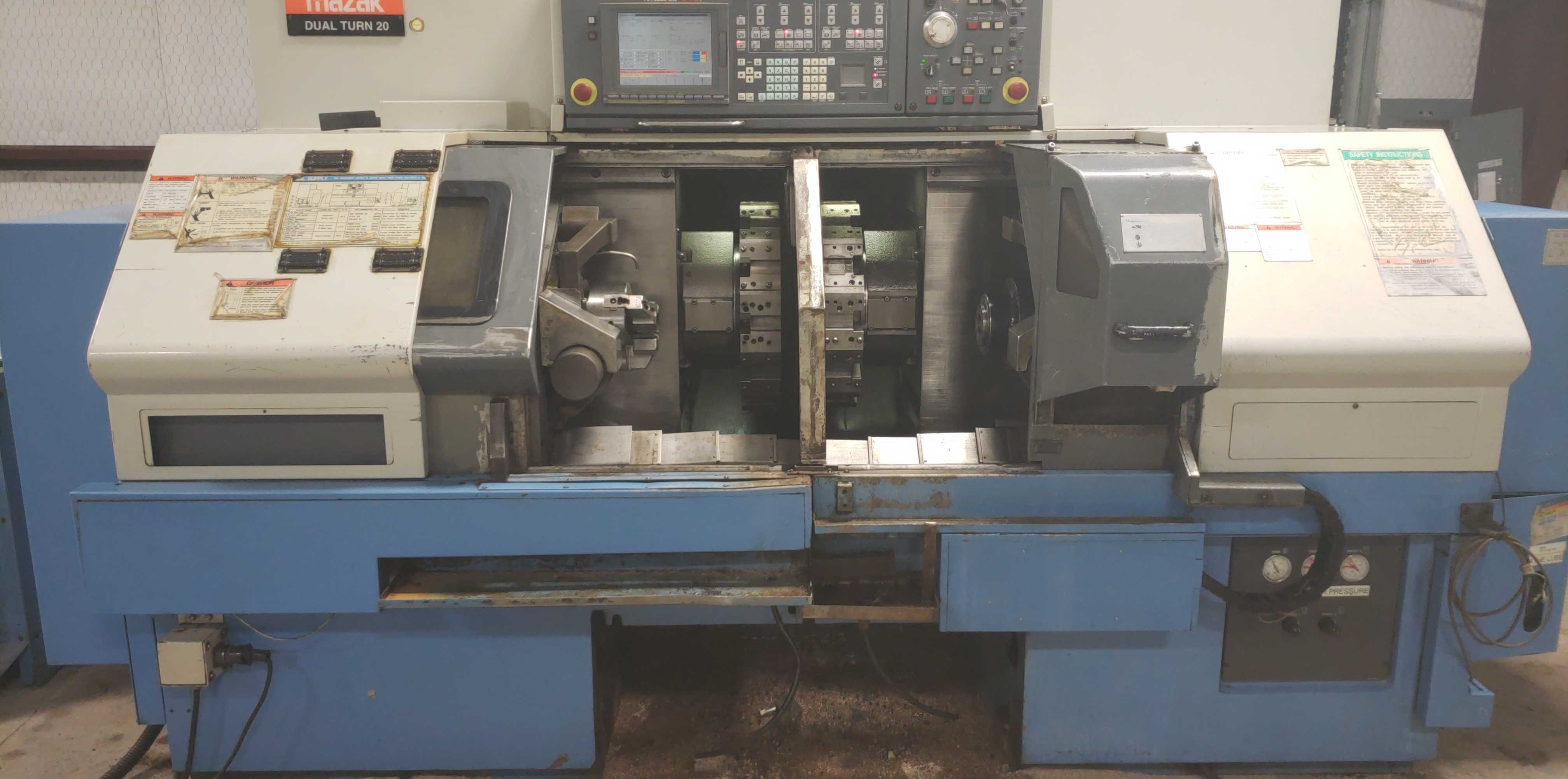 2004 Mazak Dual Turn 20 4 Axis Twin Spindle Twin Turret Opposed CNC Turning Center, rear discharge - Image 3 of 9