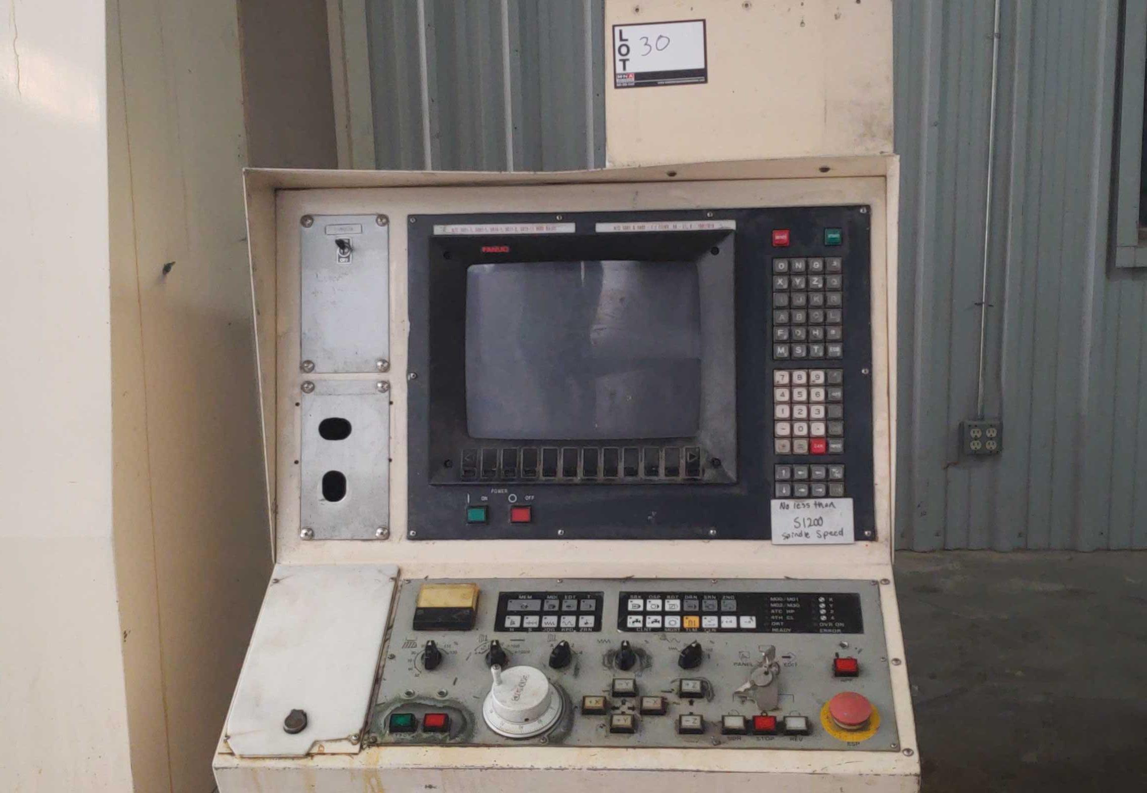 "Mori Seiki MV 40B CNC Mill, Fanuc 11M control w/ LCD screen CAT 40 spindle, 20 POS ATC, 31.5""x X - Image 5 of 6"
