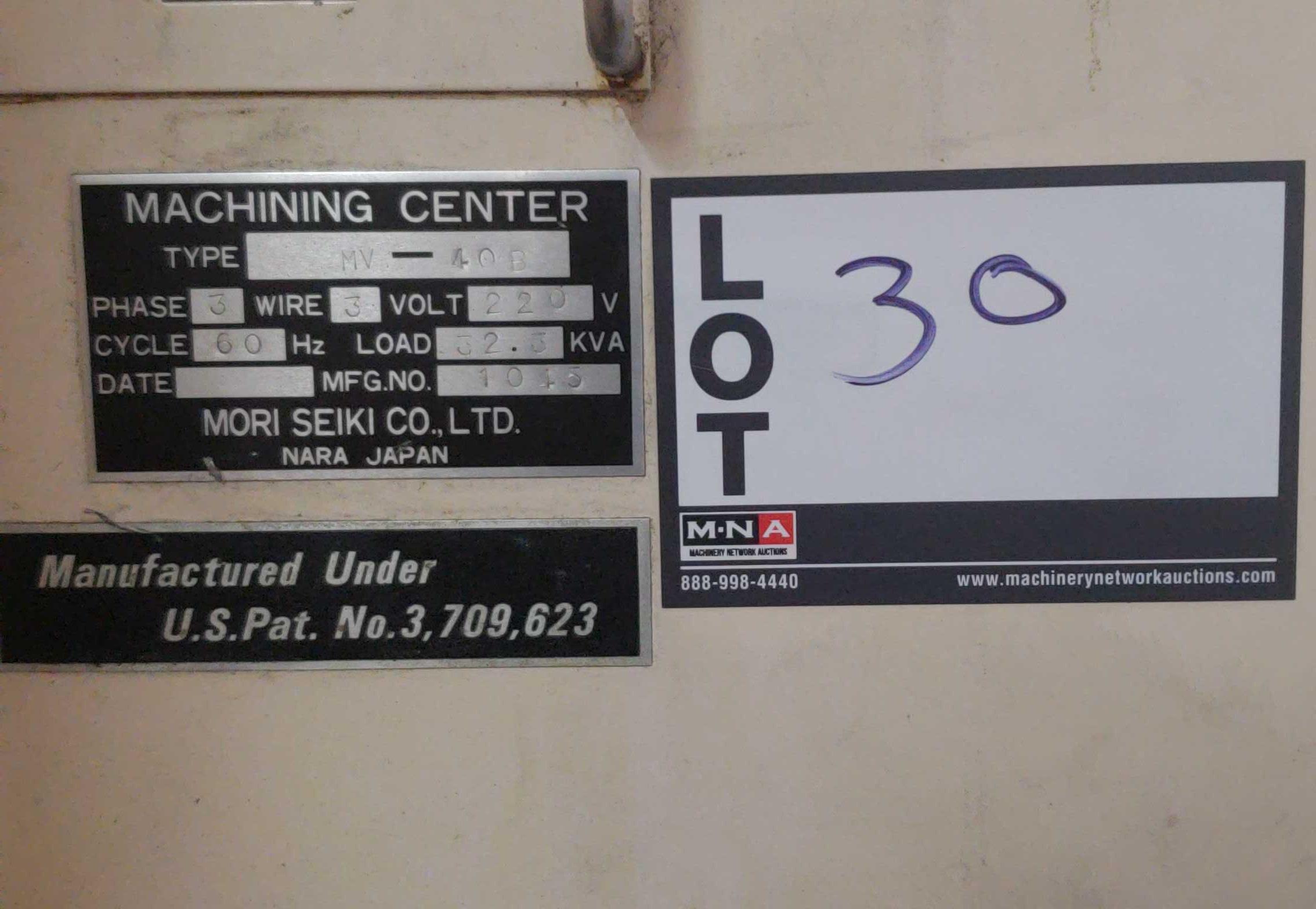 "Mori Seiki MV 40B CNC Mill, Fanuc 11M control w/ LCD screen CAT 40 spindle, 20 POS ATC, 31.5""x X - Image 6 of 6"