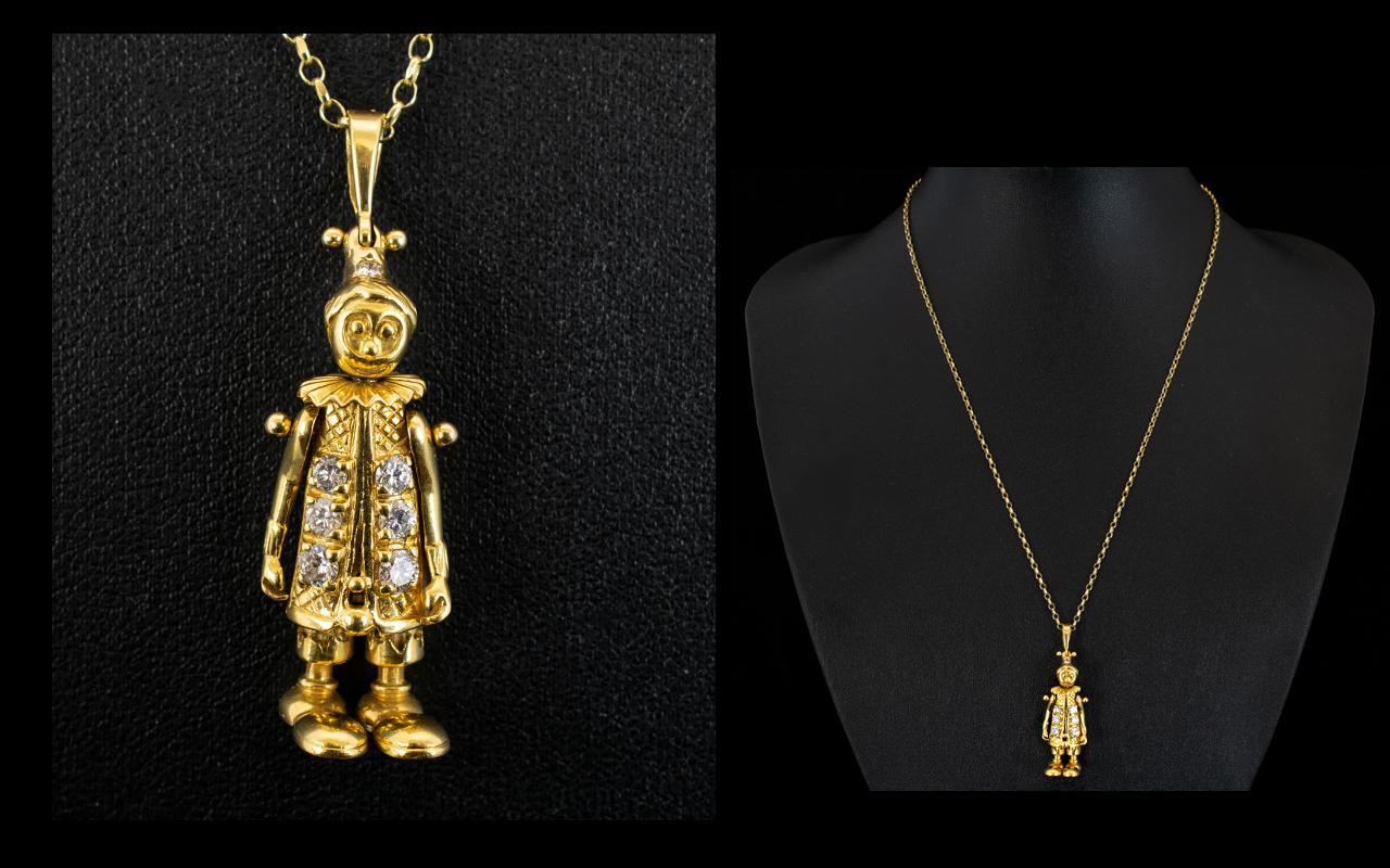 Lot 67 - 18ct Gold - Well Made Diamond Set Articu