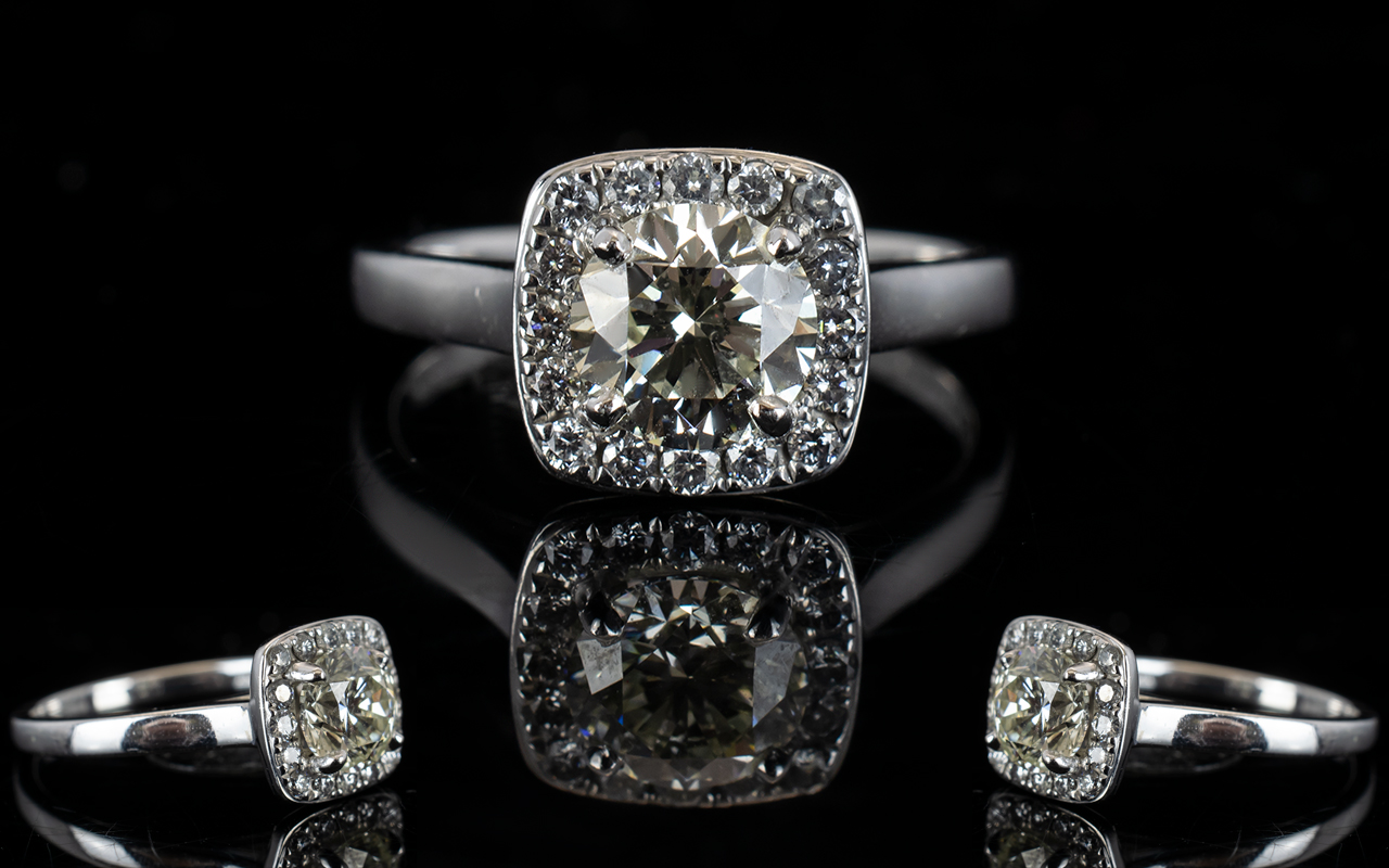 Lot 36 - 18ct White Gold Diamond Set Halo Dress Ring of Attractive Form and Top Quality