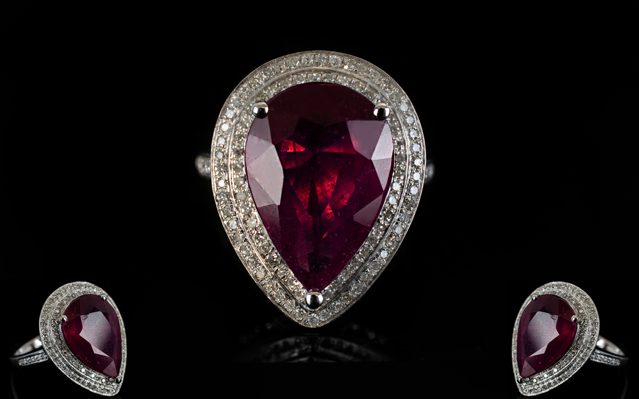 Lot 66 - 14ct Gold Pear Shaped Ruby and Diamond S