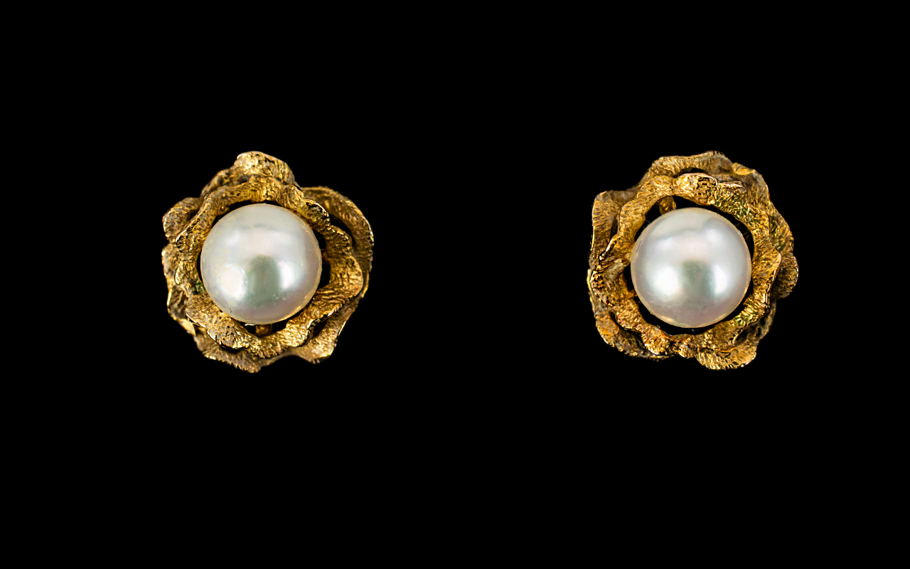 Lot 82A - A Pair Of 9ct Gold And Faux Pearl Set Ea