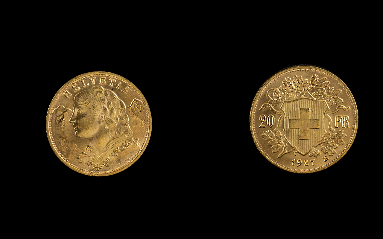 Lot 89A - Swiss - Helvetia 20 Francs Gold Coin. Da