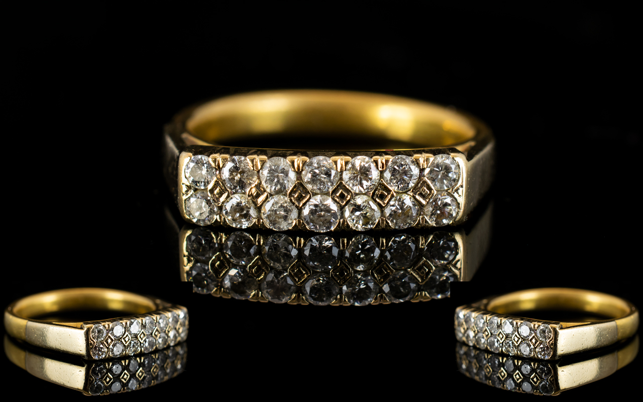 Lot 29 - 22ct Gold - Channel Set Diamond Ring, We