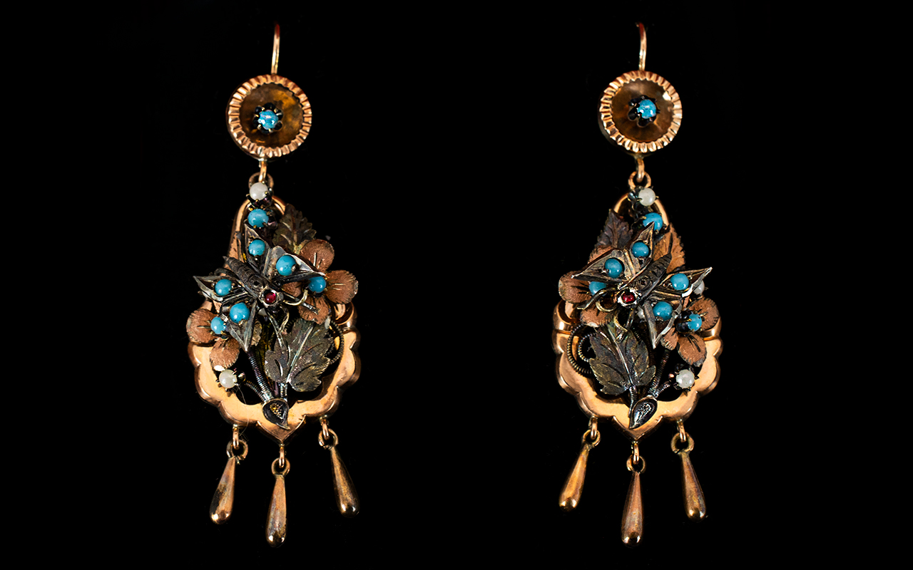 Lot 18 - Victorian Period Rose Gold Turquoise And