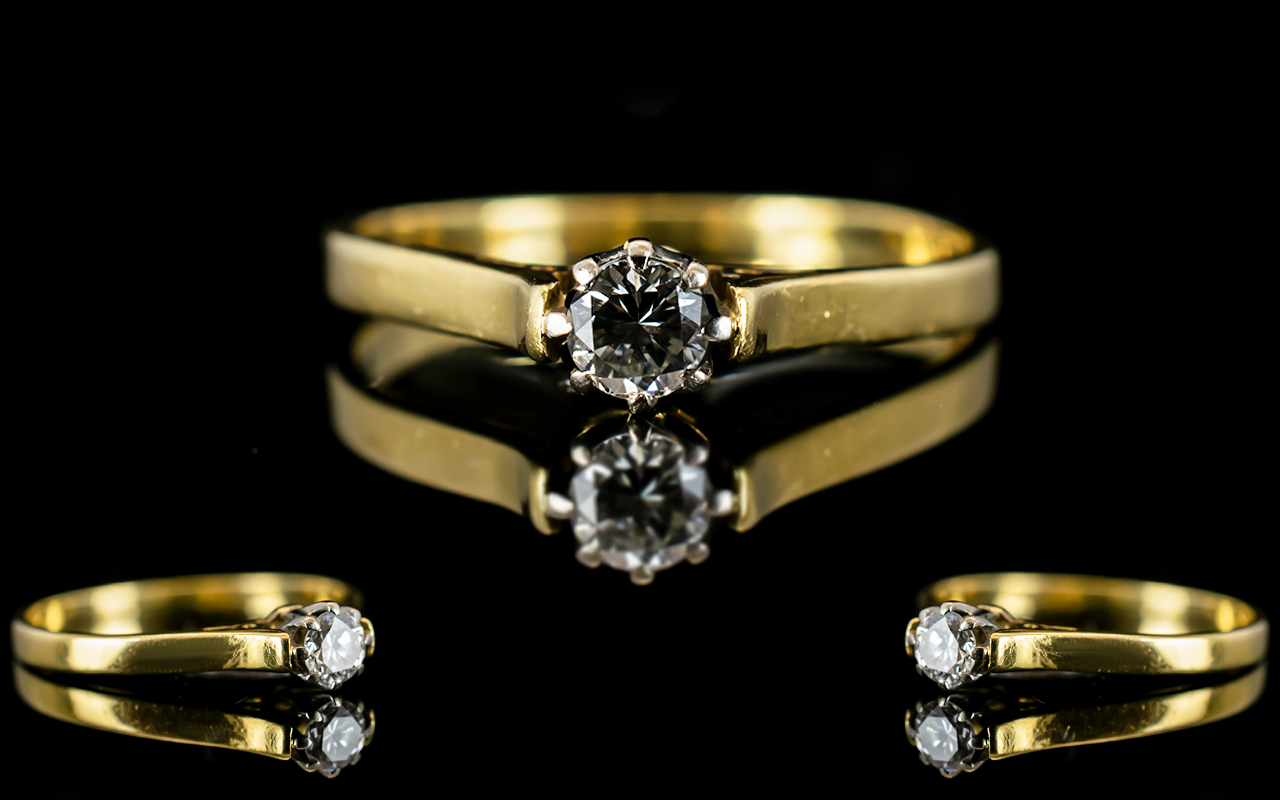 Lot 55 - 18ct Gold Single Stone Diamond Set Ring,