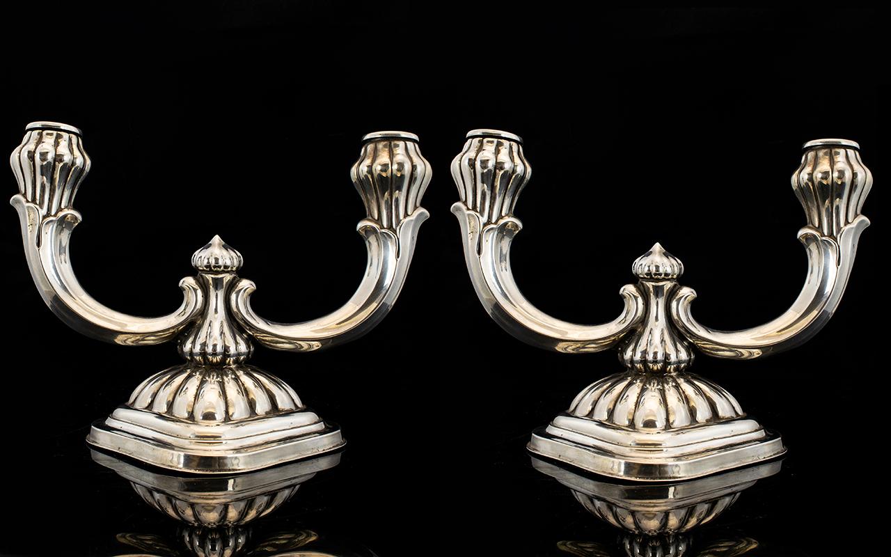 Lot 117 - Art Nouveau Period Stylish Pair of Silve