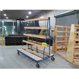 """GRF, 3,000 LBS (APPROX.), 6' X 6' X 45"""", DOUBLE SIDED, ROLLING PRODUCTION GLASS RACK WITH FOOT"""