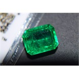 LARGE 12.40CT Natural Emerald with Certificate Card & Laboratory Box